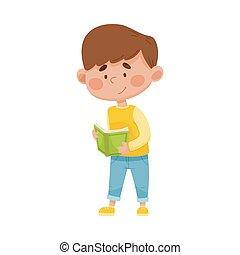 微笑, 開いた, 男の子, 地位, ベクトル, 読書, イラスト, 本