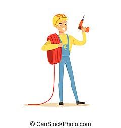 微笑, 電工, 在, 制服, 藏品, a, 電線, 捲, 以及, a, 操練, 電, 人, 執行, 電, 工作, 矢量, 插圖