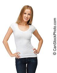 微笑, 青少年女孩, 在, 空白, 白色的圓領汗衫