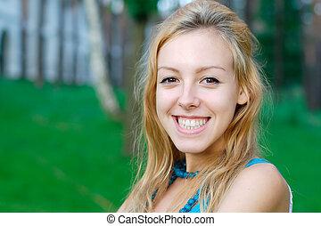 微笑, 青少年的 女孩, 在, the, 公園