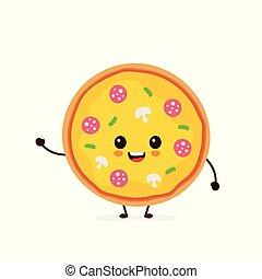 微笑, 面白い, ピザ, かわいい