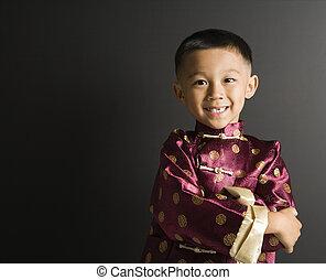微笑, boy., アジア人
