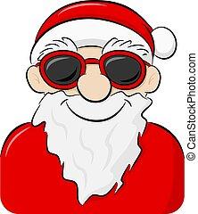 微笑, claus, サングラス, 漫画, santa