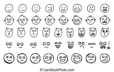 微笑, emoticons, セット, 人間, 創造的, ベクトル, 動物, sketched, 引かれる, 手, ∥あるいは∥