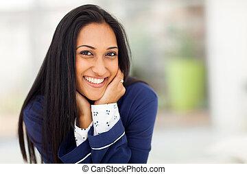 微笑, indian, パジャマ, 女