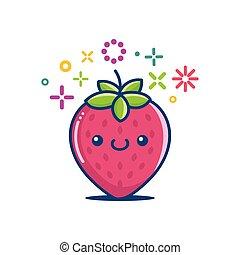 微笑, kawaii, 漫画, emoticon, いちご
