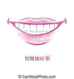 微笑, lips.