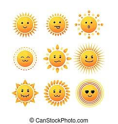 微笑, set., 太陽, アイコン, ベクトル