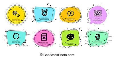 微笑, touchscreen, set., ランキング, アイコン, ベクトル, ジェスチャー, 星