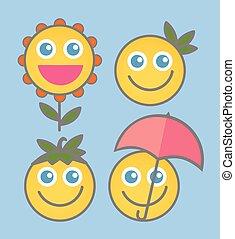 微笑, vectors, -, 漫画, 幸福