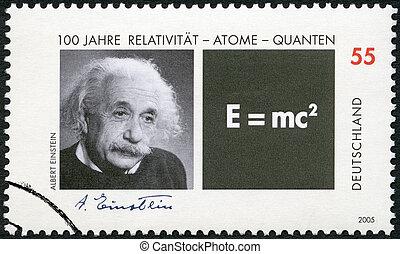 德國, -, 2005:, 顯示, albert einstein, (1879-1955), 以及, 等式, o