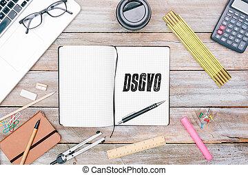 德語, 一般, 數据保護, 規定, (dsgvo), 新, 法律, 在, 2018, 在, 雜志, ......的, 作家, 或者, blogger, 上, 辦公室書桌, 套間, 位置