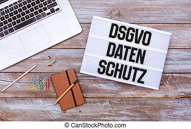德語, 一般, 數据保護, 規定, (dsgvo), 新, 法律, 在, 2018, 辦公室書桌, 套間, 位置
