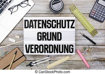 德語, 一般, 數据保護, 規定, (dsgvo), 新, 法律, 在, 2018, lightbox, 辦公室, 套間, 位置