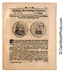 德語, 報紙, 老, 給定日期,  1739