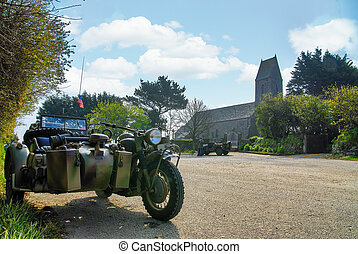 德语, 摩托车, 世界, 教堂, 二, 背景, 战争