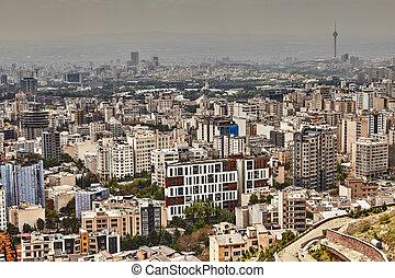 德黑蘭, 地平線, 由于, 高層建築, 建筑物, 以及, 綠色, 公園, iran.