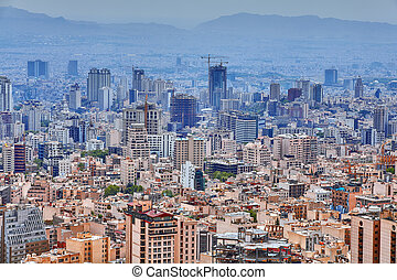 德黑蘭, 首都, ......的, 伊朗, 都市風景, 從, 提防, mountain.