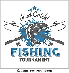 徽章, 元素, 設計, 象征, 釣魚