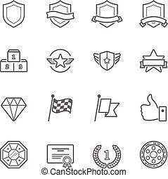 徽章, 獎品, 矢量, outline, 打擊