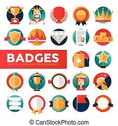 徽章, 集合, 獎品, 帶子, 圖象