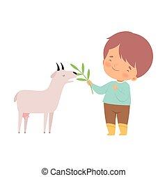 心づかい, かわいい, わずかしか, 供給, 男の子, 農場, イラスト, ベクトル, 動物, 愛らしい, 漫画, goatling, 子供