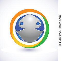 心づかい, ロゴ, チーム, 地球, 人々
