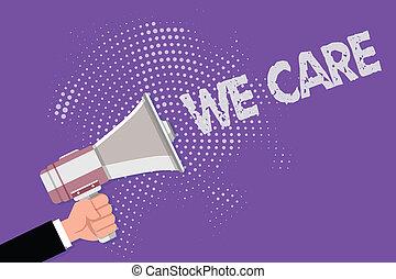 心づかい, 妨げなさい, 私達, 概念, テキスト, 問題, care., 意味, 問題, 取られる, 手書き, (どれ・何・誰)も, 防止, 心配