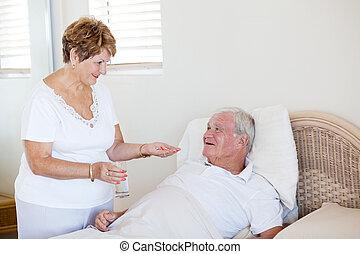 心づかい, 妻, 寄付, 病気, 薬, シニア, 夫