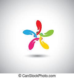 心づかい, 概念, &, 寄付, アイコン, -, 手, ベクトル, 円