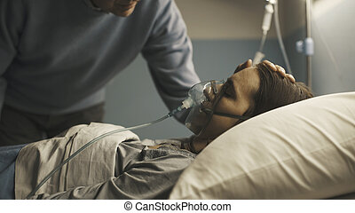 心づかい, 病院, 彼女, 援助, 娘, 父