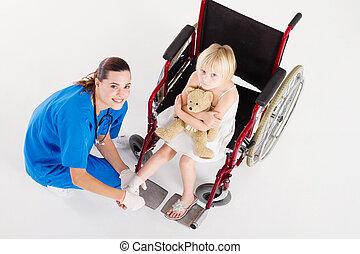 心づかい, 看護婦, 女の子, 包帯