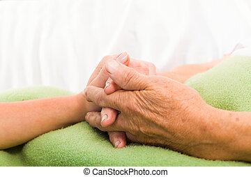 心づかい, 看護婦, 手を持つ