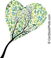 心の形をしている, 抽象的, 木, ベクトル, 背景, 白