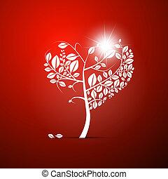 心の形をしている, 木, 抽象的, 背景, ベクトル, 赤