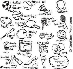 心不在焉地乱写乱画, 运动, equipment., 矢量, illustration., sketchy, 描述,...