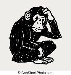 心不在焉地亂寫亂畫, 猴子, orangutan