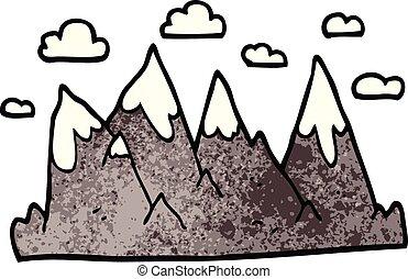 心不在焉地亂寫亂畫, 範圍, 卡通, 山