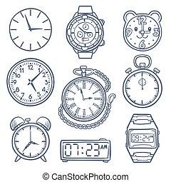 心不在焉地亂寫亂畫, 觀看, 鐘, 矢量, icons., 手, 畫, 時間, 矢量, 圖象, 被隔离