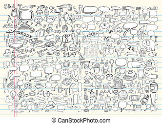 心不在焉地亂寫亂畫, 設計元素, 矢量, 集合