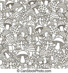 心不在焉地亂寫亂畫, pattern., seamless, 蘑菇, 黑色的背景, 白色