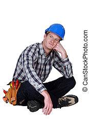 心不在焉, tradesman, 坐的横跨腿