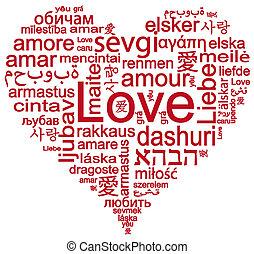 心形状, 带, 词汇, 在中, 爱