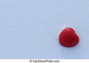 心形狀, 愛, 雪, 紅色