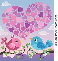 心形狀, 鳥, 情人節