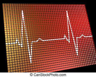 心比率監視器, 顯示, 心臟, 以及, 冠狀, 健康