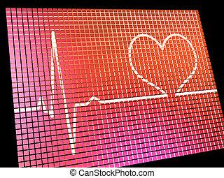 心率, 顯示, 監控, 顯示, 心臟, 以及, 冠狀, 健康