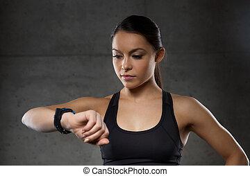 心率, 體操, 婦女, 觀看, 年輕