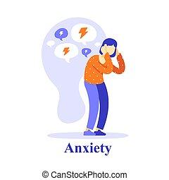 心理上である, 否定的, 問題, 助け, 尊重, 疑い, 健康, ∥あるいは∥, 自己, 考え, 女, 精神, 特徴