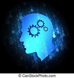 心理上である, 概念, 上に, デジタル, バックグラウンド。